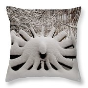Heritage Wagon Wheel After A Winter Snow Storm Throw Pillow