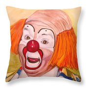 Watercolor Clown #9 Herky The Clown Throw Pillow