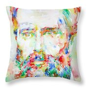 Herman Melville Watercolor Portrait.1 Throw Pillow