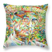 Hermann Hesse With Hat Watercolor Portrait Throw Pillow