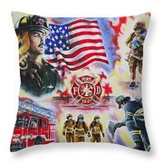 Heroes American Firefighters Throw Pillow