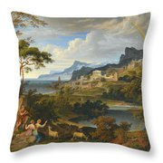 Heroic Landscape With Rainbow Throw Pillow