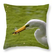 Heron And Dragonfly Throw Pillow