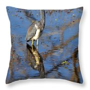 Heron And Reflection In Jekyll Island's Marsh Throw Pillow by Bruce Gourley