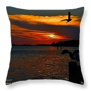 Heron And Seagull Sunset I Mlo Throw Pillow