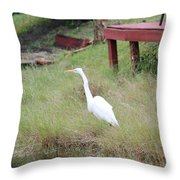 Heron And The Canal Throw Pillow