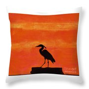 Heron - At - Sunset Throw Pillow