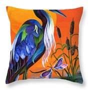 Heron Blue Throw Pillow