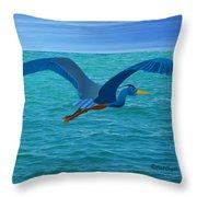 Heron Flying Over Ocean Throw Pillow
