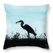 Heron Has Supper Throw Pillow