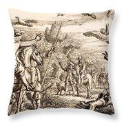 Heron Hawking, Engraved By Wenceslaus Throw Pillow