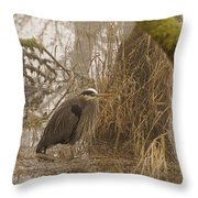 Heron In A Fog Throw Pillow