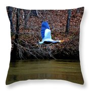 Heron In Flight Throw Pillow