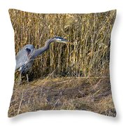 Heron In The Grass Throw Pillow