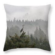 Heron In The Mist Throw Pillow
