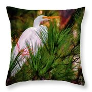 Heron In The Pines Throw Pillow