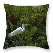 Heron In Tree Throw Pillow