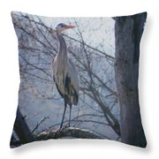 Heron Looking Out Throw Pillow