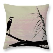 Heron Morning Throw Pillow