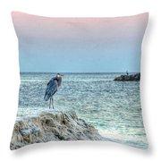 Heron On Beach Throw Pillow