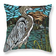 Heron On Connor Creek Throw Pillow