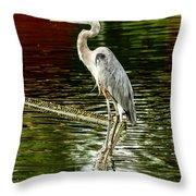 Heron On The Stick Throw Pillow