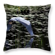 Heron Take Off Throw Pillow