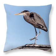Heron Up On The Roof Throw Pillow