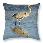 Heron Walking Through The Water. Throw Pillow