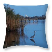 Heron Watching The Sunset Throw Pillow