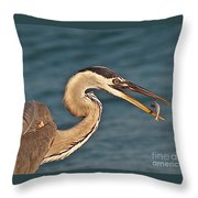 Heron With Catch Throw Pillow