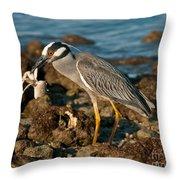 Heron With Crab Throw Pillow