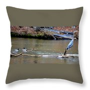 Heron With Ducks Throw Pillow