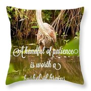 Heron With Quote Photograph  Throw Pillow
