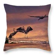 Herons At Sunset Throw Pillow