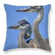 Herons On The Lookout Throw Pillow