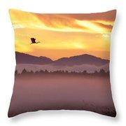 Heron's Sunrise Throw Pillow
