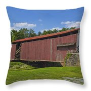 Herr Mill Covered Bridge Throw Pillow