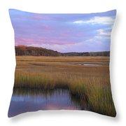 Herring River Marsh Cape Cod Autumn Sunset Throw Pillow