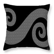 Herringbone Swirl On Black Throw Pillow