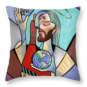 Hes Got The Whole World In His Hand Throw Pillow by Anthony Falbo