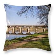 Hexham Bridge And Riverside Path Throw Pillow