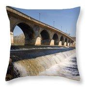 Hexham Bridge And Weir Throw Pillow
