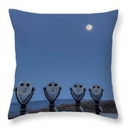 Hey Take Our Picture Infront Of The Moon Throw Pillow