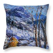 Heystack In The Snow Throw Pillow