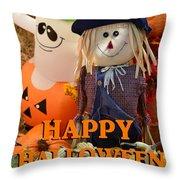 Feel Good Happy Halloween Throw Pillow