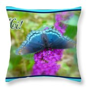 Hi Hello Greeting Card - Red Spotted Purple Butterfly Throw Pillow
