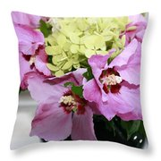 Pink Hibiscu And Hydrangea Flower #2 Throw Pillow