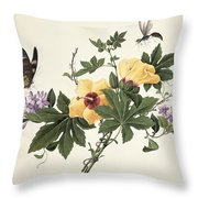 Hibiscus And Butterfly Throw Pillow