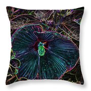 Hibiscus At Midnight Throw Pillow
